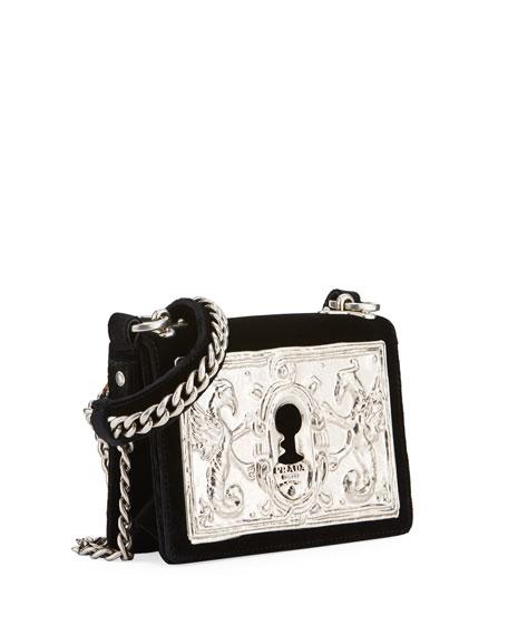 Small Lock Velvet Trunk Crossbody Bag