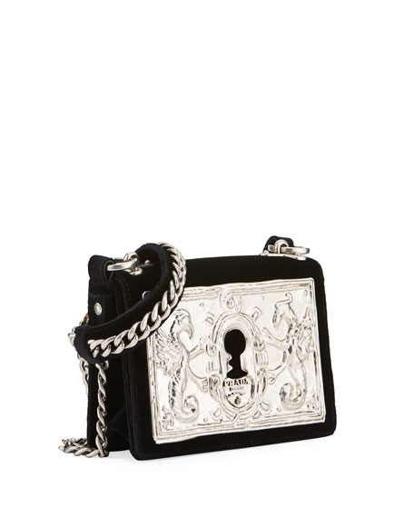 0b829fd849be Prada Small Lock Velvet Trunk Crossbody Bag