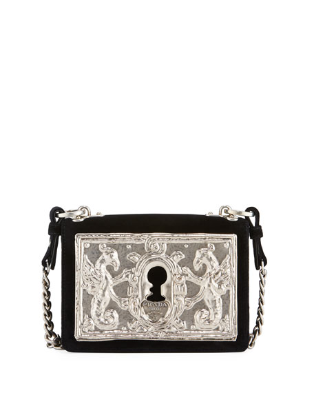 29a7ff22aefa Prada Small Lock Velvet Trunk Crossbody Bag
