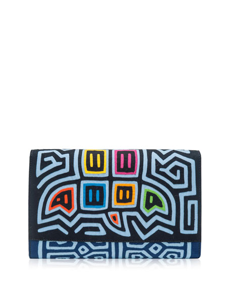 Diag Morro Embroidered Clutch Bag, Multi