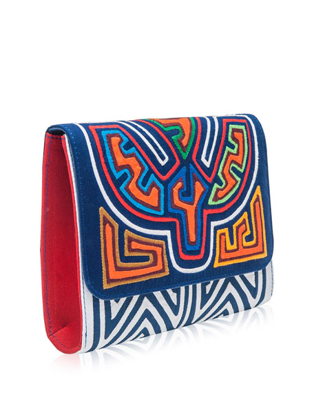 Inma Embroidered Clutch Bag, Multi