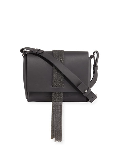 Leather Monili Tassel Shoulder Bag