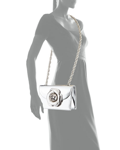 Rose Metallic Chain Clutch Bag