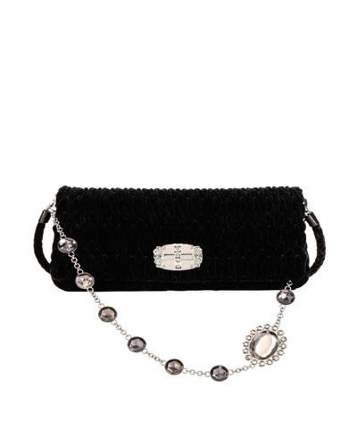 Club Collection Velvet Shoulder Bag, Black