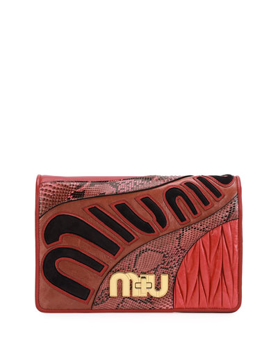 Patchwork Leather & Python Clutch Bag
