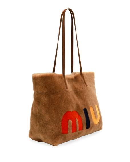 Miu Shearling Fur Tote Bag