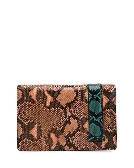Python Clutch Bag with Jeweled Belt