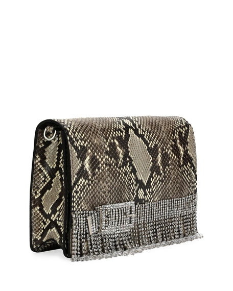 Python Clutch Bag with Fox Fur Strap