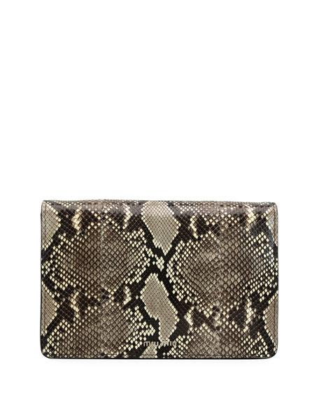 Python Clutch Bag with Fox Fur Strap