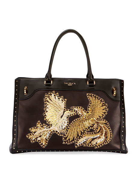 Renaissance Embroidered Leather Tote Bag