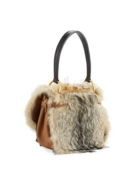 Crosaire Fox Fur Flap-Top Shoulder Bag