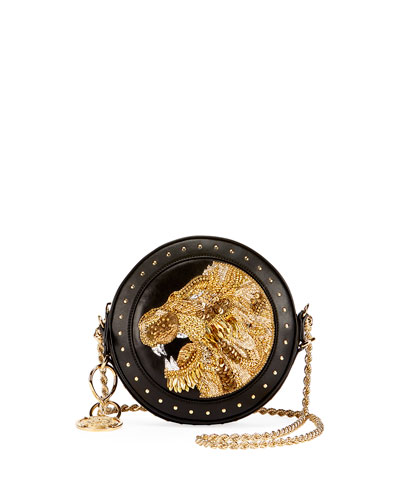 Renaissance Lion Round Chain Shoulder Bag, Black