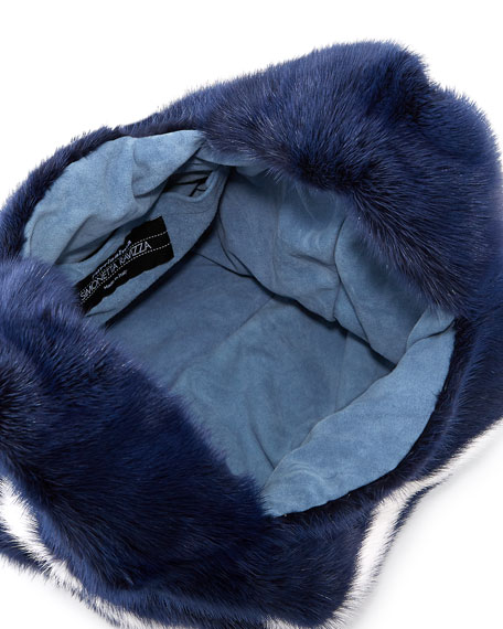 Furrissima Striped Mink Fur Bag, Navy