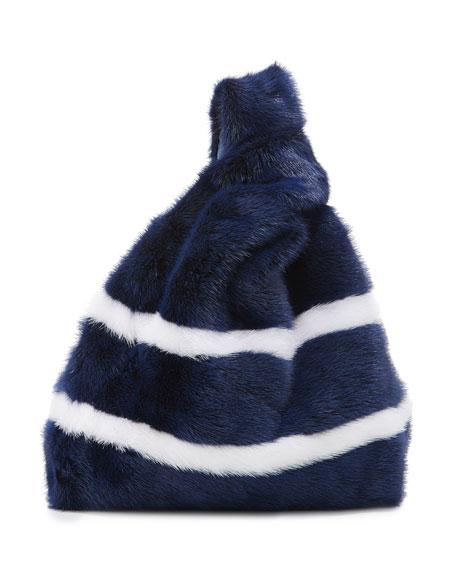 Furrissima Striped Mink Fur Bag, Navy