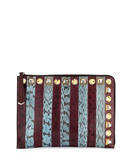 Striped Snakeskin Clutch Bag