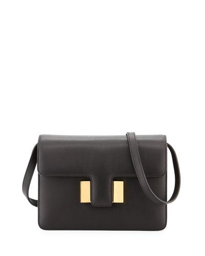 Sienna Medium T-Buckle Shoulder Bag, Black
