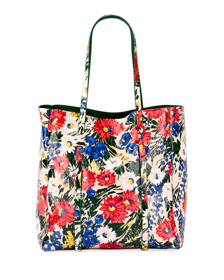 Everyday Small Floral-Print Leather Tote Bag