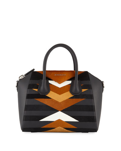 Antigona Small Leather & Calf Hair Patchwork Satchel Bag