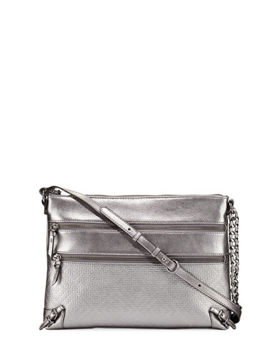 Mari Metallic Leather Shoulder Bag