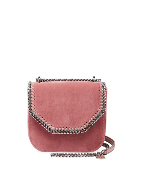 Stella Mccartney Mini Falabella Box Velvet Chain Shoulder Bag In Pink 3727ffaef5
