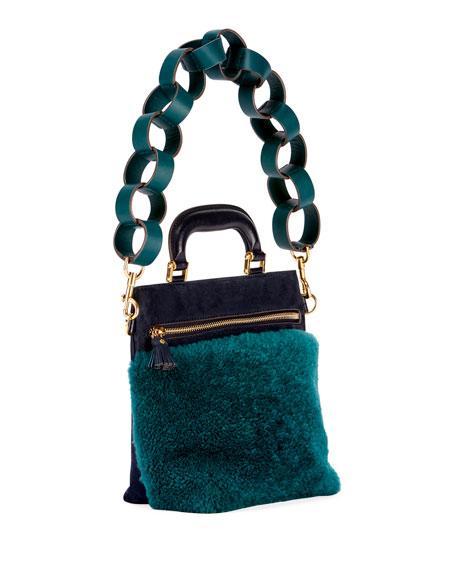 Orsett Mini Paper Chain Shearling Fur Top-Handle Bag