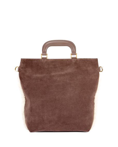 Orsett Small Paper Chain Shearling Fur Top-Handle Bag