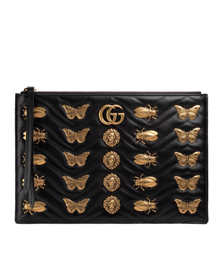 Large Flat Zip Pouch with Insect Embellishments