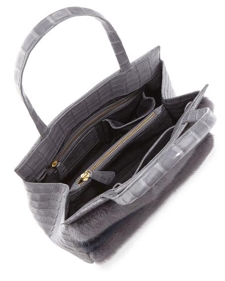 Daisy Striped Mink Fur & Crocodile Tote Bag