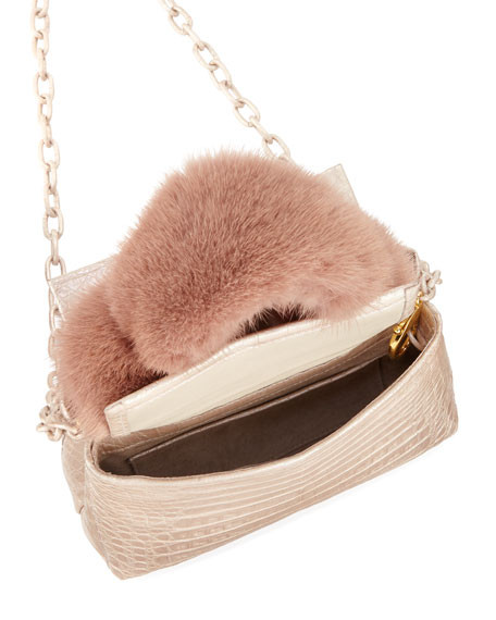 Mini Mink-Fur Knot Handle Bag