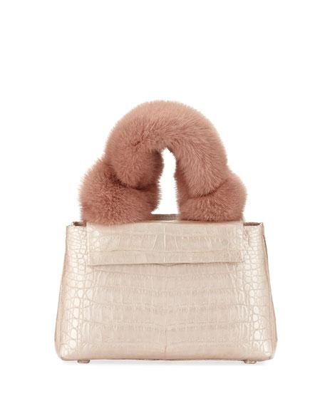 Mini Mink-Fur Knot Handle Bag