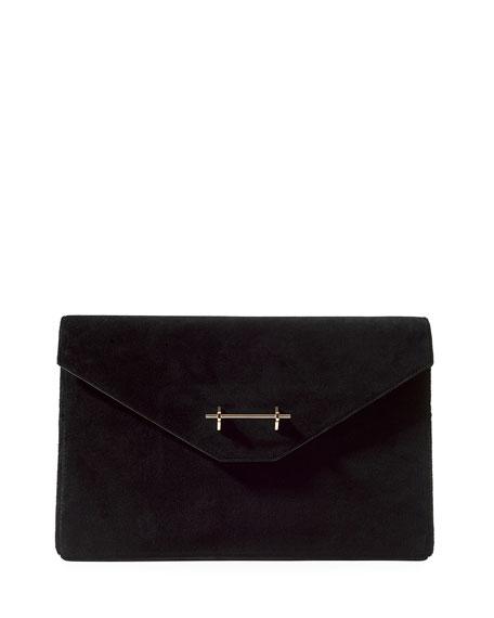 Suede Envelope Clutch Bag
