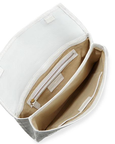 Small Crocodile Envelope Clutch Bag, White