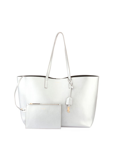 Metallic East-West Shopper Tote Bag