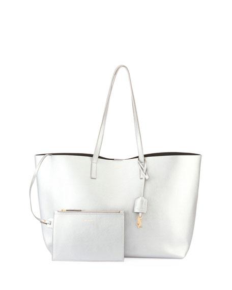Metallic East-West Shopper Tote Bag
