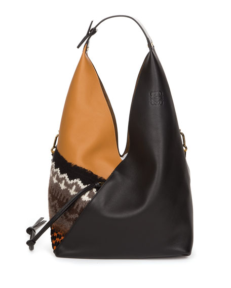 Sling Knit-Trim Hobo Bag