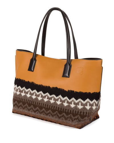 T Shopper Knit-Trim Tote Bag