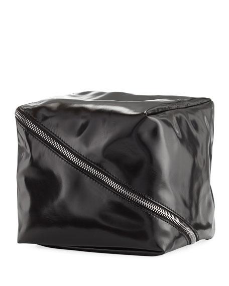 Faux Leather Cube Bag