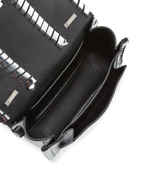 Hava Metallic Leather Whipstitch Crossbody Bag