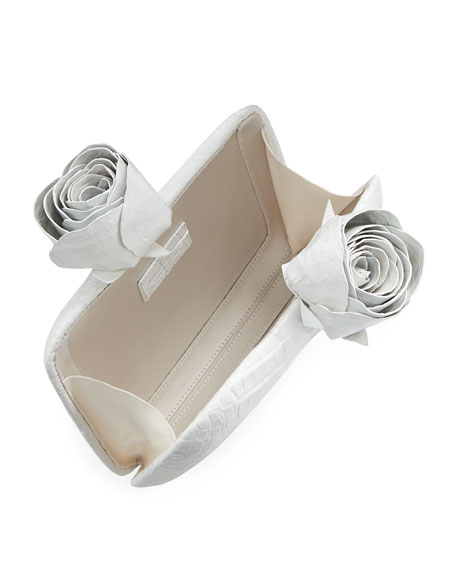 Rose Crocodile Box Clutch Bag