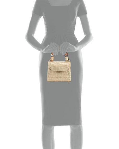 Beaded Crocodile Top-Handle Bag