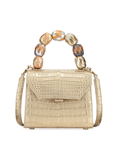 Beaded Crocodile Top-Handle Bag