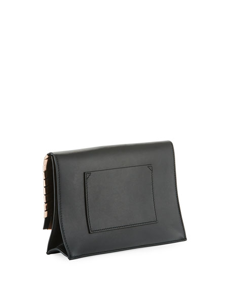 Leather Whipstitch Small Lunch Clutch Bag