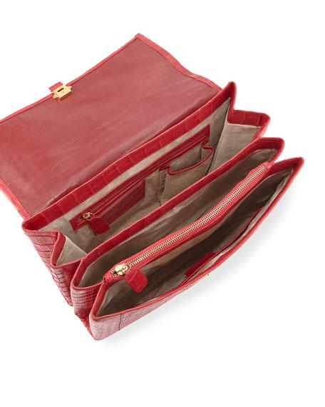 Large Crocodile Top-Handle Bag