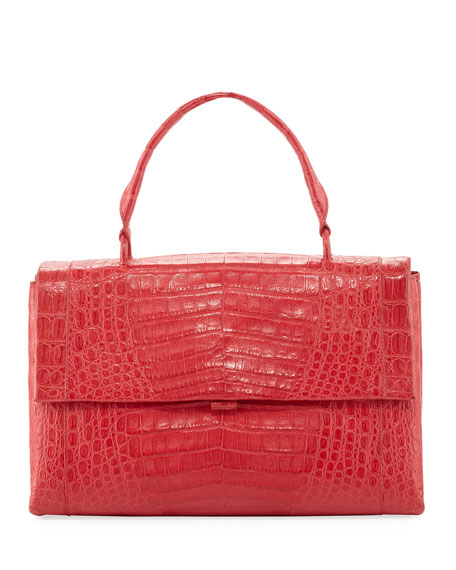 Large Crocodile Top-Handle Bag