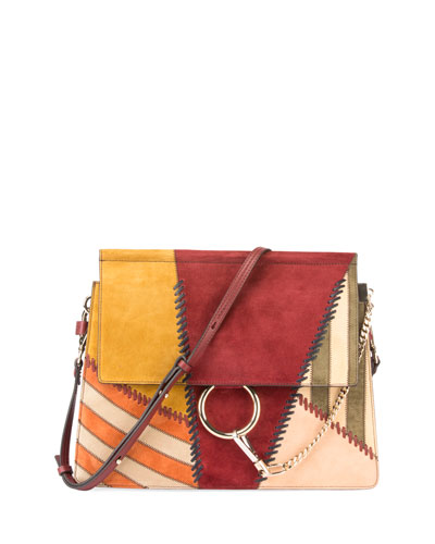 Faye Medium Colorblock Patchwork Shoulder Bag