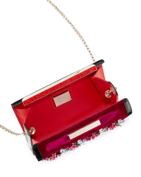 Vanite Rose-Embellished Velvet Clutch Bag