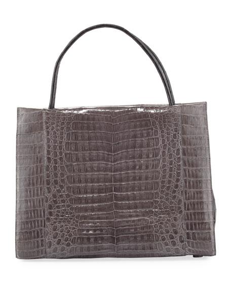 Wallis Large Bicolor Crocodile Tote Bag
