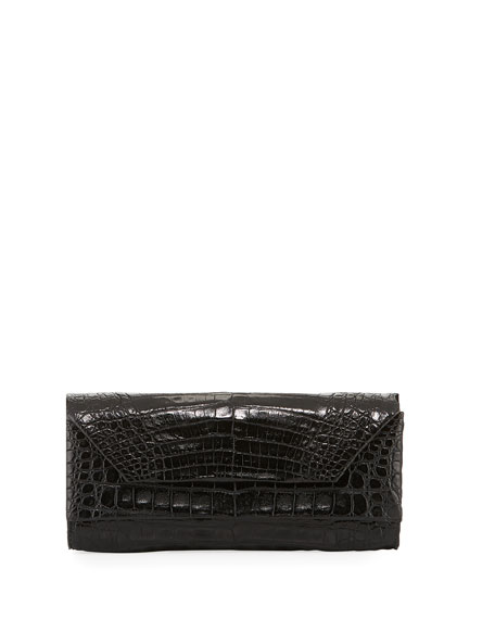 Patent Crocodile Pull-Through Clutch Bag
