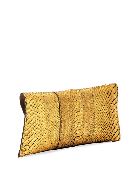 Manila Stretch Metallic Python Clutch Bag
