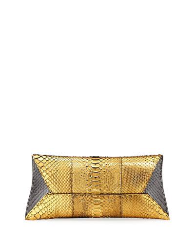 Manila Stretch Metallic Python Clutch Bag